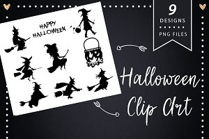 Halloween witches silhouette clipart