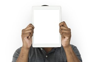Hands Hold Digital Tablet (PNG)