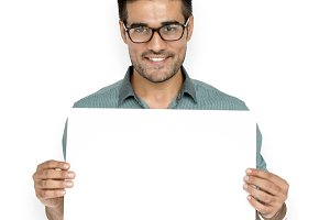 Man Hold Blank Paper (PNG)