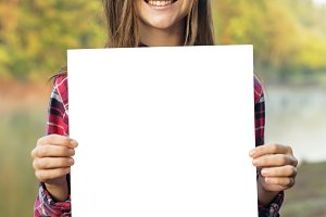 Girl Holding Blank Placard (PNG)