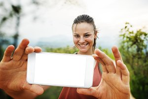 Girl Taking Selfie Outdoors  (PNG)