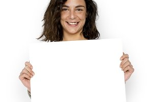 Woman Hold Blank Paper Board (PNG)