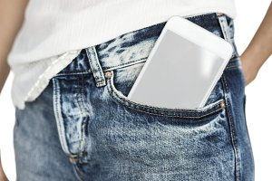 Mobile Phone Pocket Copy Space (PNG)