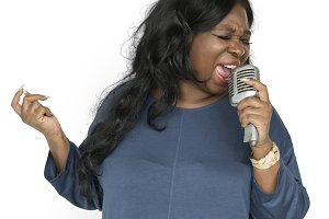 African Descent Woman Singing(PNG)