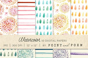Watercolor Digital Paper Pastels