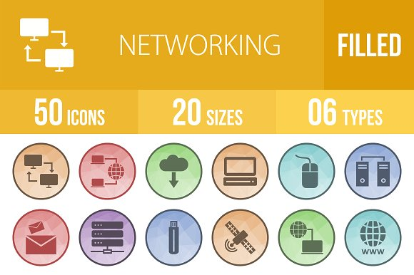 50 Networking Low Poly B G Icons