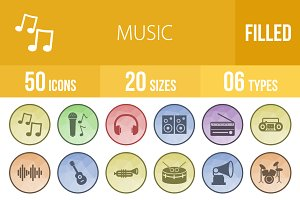 50 Music Filled Low Poly B/G Icons