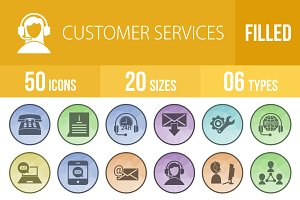 50 Customer Services Low Poly Icons