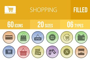 60 Shopping Low Poly B/G Icons