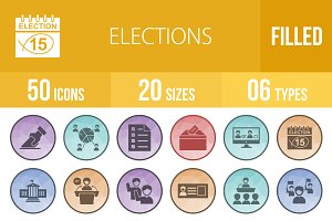 50 Elections Low Poly B/G Icons