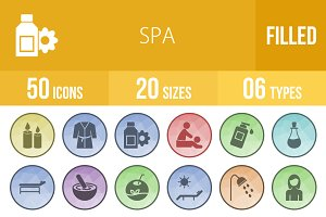 50 Spa Filled Low Poly B/G Icons