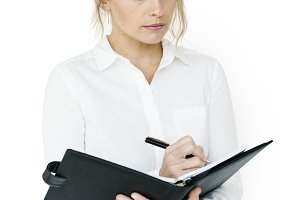 Businesswoman Document Working(PNG)