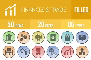 50 Finances & Trade Low Poly Icons