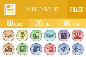 50 Employment Low Poly B/G Icons