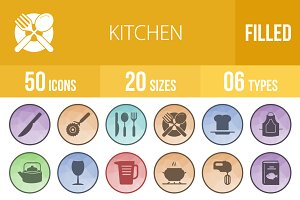 50 Kitchen Filled Low Poly B/G Icons