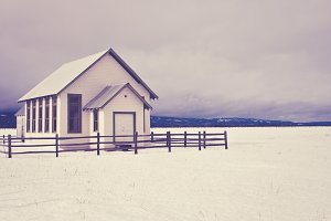 Old Rural Schoolhouse in Winter