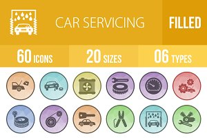60 Car Servicing Low Poly B/G Icons