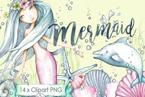 Mermaid Clipart Watercolor