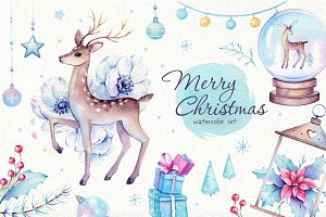 Christmas Deer Watercolor Set