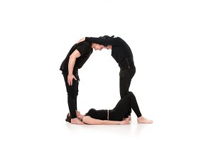 The letter Q formed by Gymnast bodies