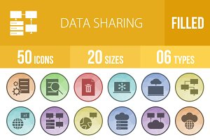 50 Data Sharing Low Poly B/G Icons