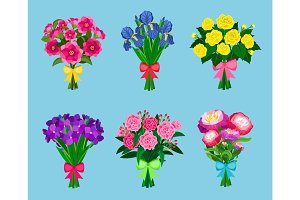 Flowering bouquets Set isolated on blue background. Bunch of flowers with bows