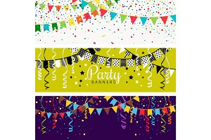 Party banners with garland of colour flags and confetti. Happy festive celebration background