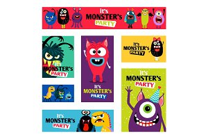Monsters Banners set or Monster labels for kids diary design