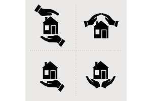 Save House icons. Houses in hands. Home repair and maintenance, insurance and security symbols