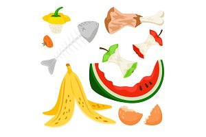 Organic waste, food compost rubbish isolated on white background. Banana and watermelon rind, fish bone and apple stump