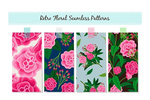 Floral Patterns Set. Vector vintage english ornament backgrounds with pink flowers