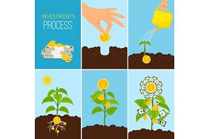 Investments Process and financial business growth concept. Growing money tree vector illustration