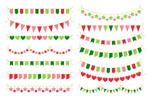 Colorful garlands with flags. Carnival design elements for congratulation banners and birthday invitations