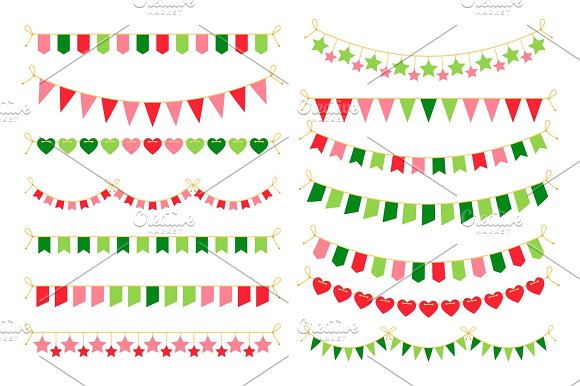 colorful garlands with flags carnival design elements for