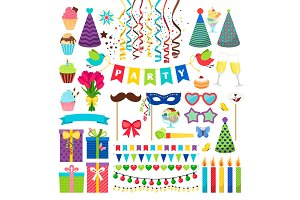 Birthday party design elements. Birthday celebration invitation decorations isolated on white