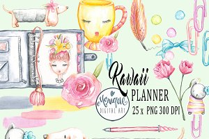 Kawaii Planner Clipart, watercolor