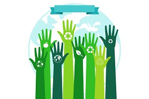 Save world ecology environmental concept. Green hands and blue Planet