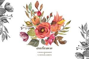 Watercolor Autumn Rose Clip Art