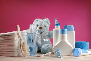 Toiletries baby, diapers, pacifiers
