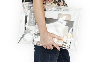 Woman Holding Work Bag (PNG)