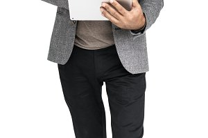 Senior Adult Man Digital Tablet(PNG)