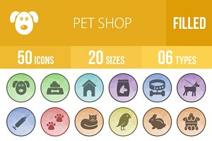 50 Pet Shop Low Poly B/G Icons