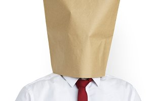 Man Paper Bag Cover Face  (PNG)