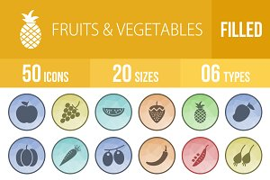 50 fruits & vegetable Low Poly Icons