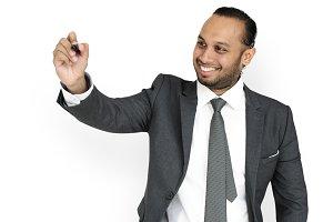 Indian Man Presenting Smiling (PNG)