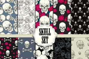 Skull set. Seamless patterns.