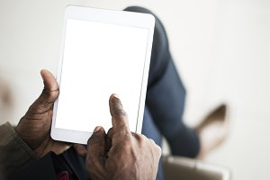 Hand Using Tablet (PNG)