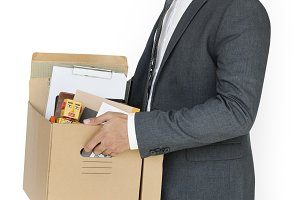 Business Man Holding Box (PNG)