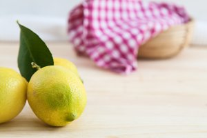 Lemons on wooden table