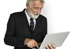 Business Man Laptop (PNG)